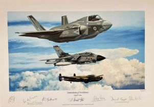 RAF Multi Signed print 18x13. titled Generations of Excellence by the artist Philip E West.