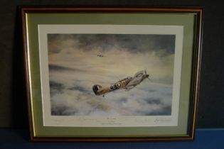 """B6 Robert Taylor """"First of Many"""" Special Edition Douglas Bader Tribute Print signed by 4 highly"""