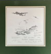 World War II Multi-signed print. 20x19 in size, matted. print titled Safely Home limited edition