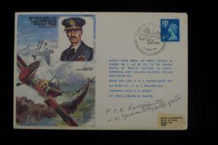 B24 Unusual WW2 RAF signed cover - Flt. Lt. F C A Lanning DFC, 141 Squadron Defiants Battle of