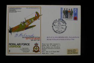 B25 Scarce WW2 Polish RAF Battle of Britain signed cover - Flt. Lt. Bronislaw Malinowski DFC KW