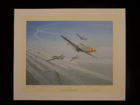 """B5 Gerald Coulson """"Top Cover"""" Aces Edition signed by 5 American WW2 P51 fighter aces. This print"""