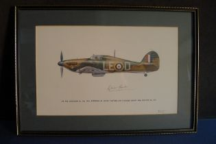 B8 RARE - An early Battle of Britain Museum Appeal Hurricane print signed by Group Captain Sir