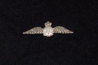 B19 A vintage White Metal and Marcasite World War Two era RAF Wings sweetheart brooch with Kings
