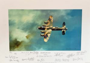 """World War II Multi-Signed 12x18 print. Titled """"Crossing the Coast"""" limited edition 149/200. signed"""