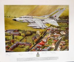 RAF Multi-Signed Jeff Crain print. 20x23 in size. picturing Tornado GR4 ZA585, Signed by 5 RAF