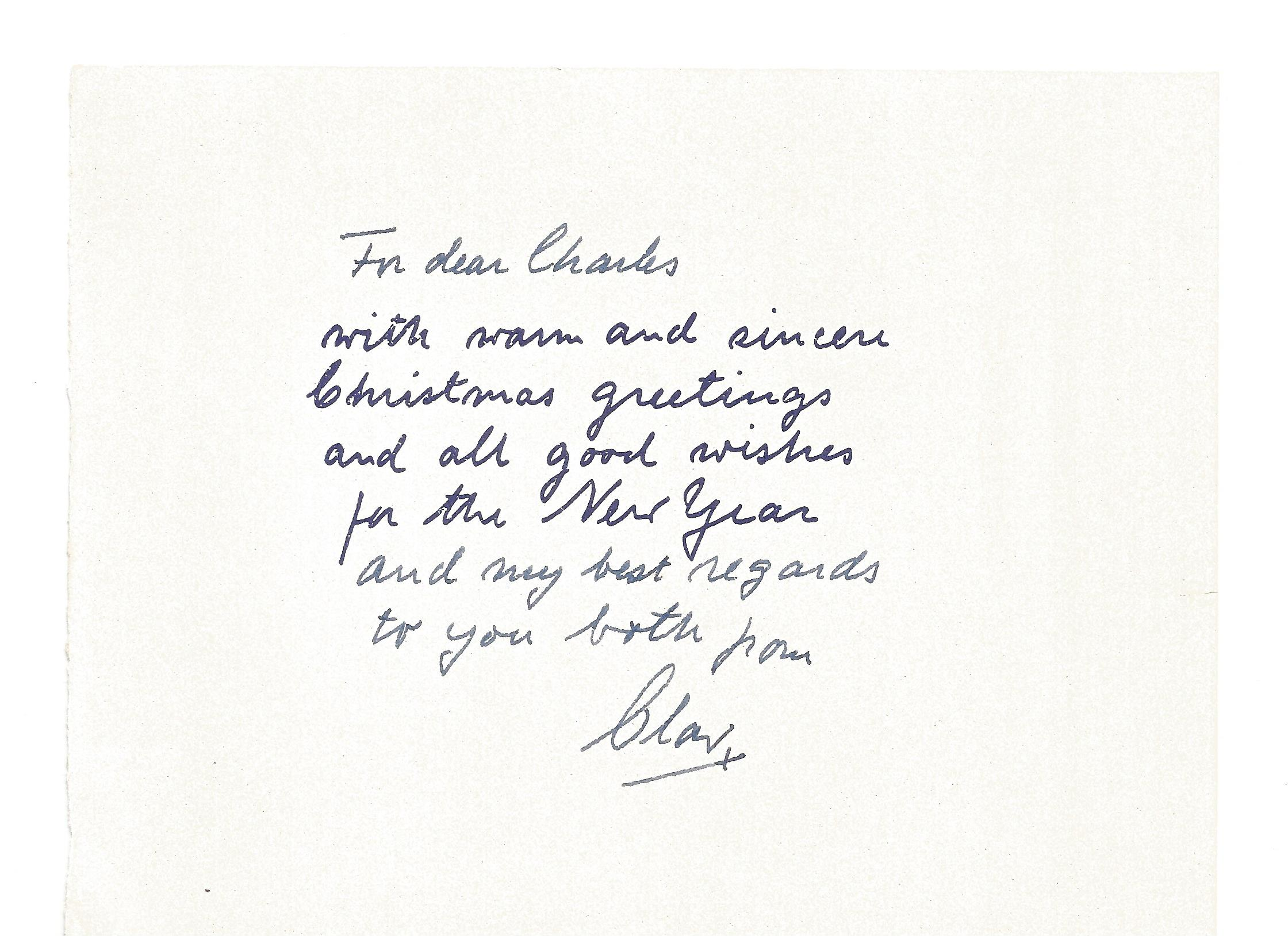 King Olav of Norway signed card approx 6 1 2 x 4 features printed Christmas wishes greeting and also