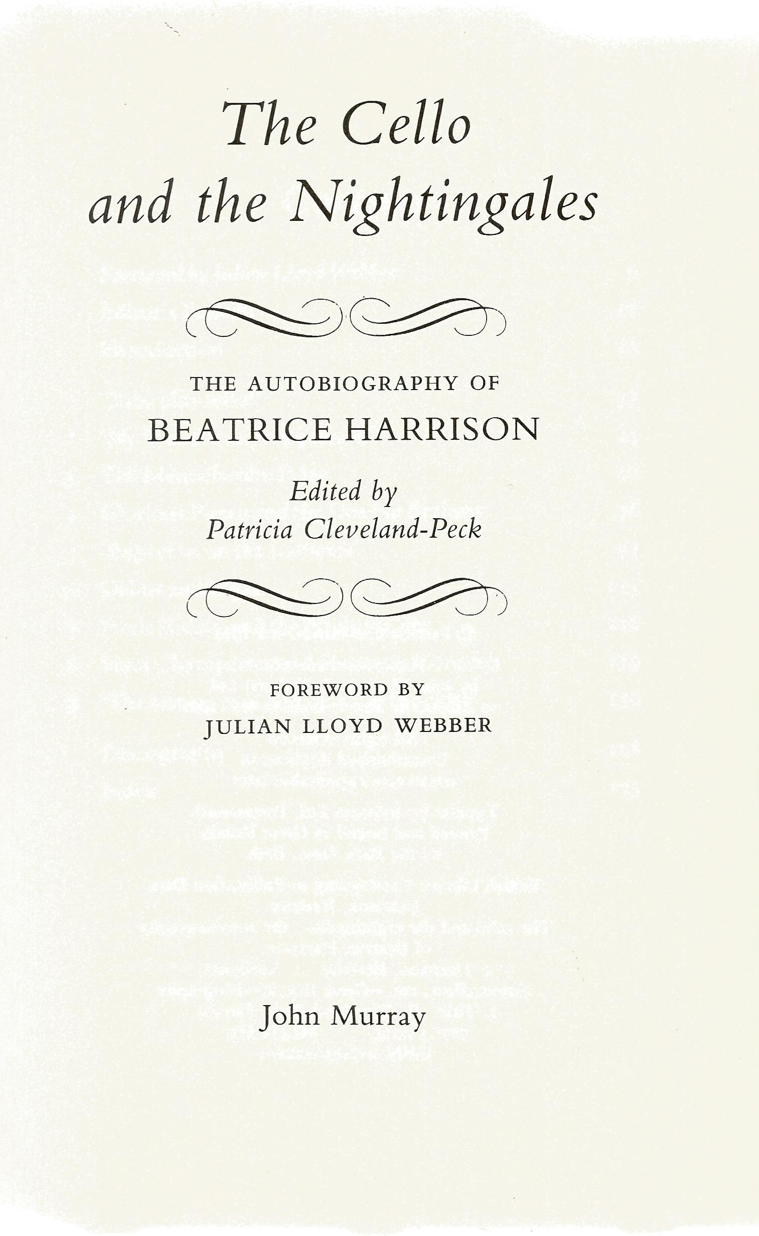 Beatrice Harrison hardback book The Cello and the Nightingales The Autobiography of Beatrice - Image 2 of 3
