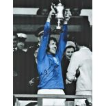 Football John Greig signed 16x12 colourised photo pictured during his playing days with Rangers in