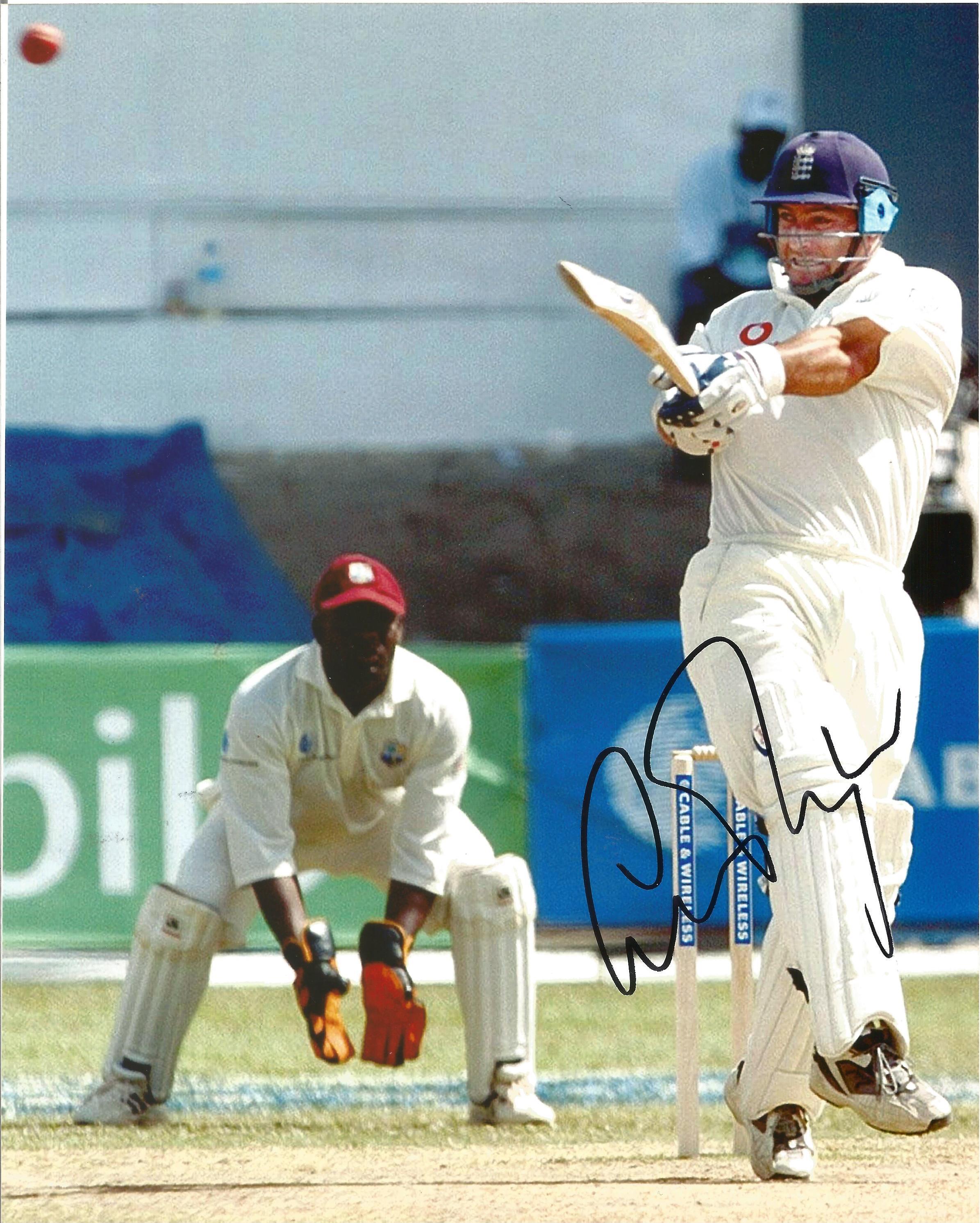 Cricket. Graham Thorpe Signed 10x8 colour photo. Photo shows Thorpe batting for England Against