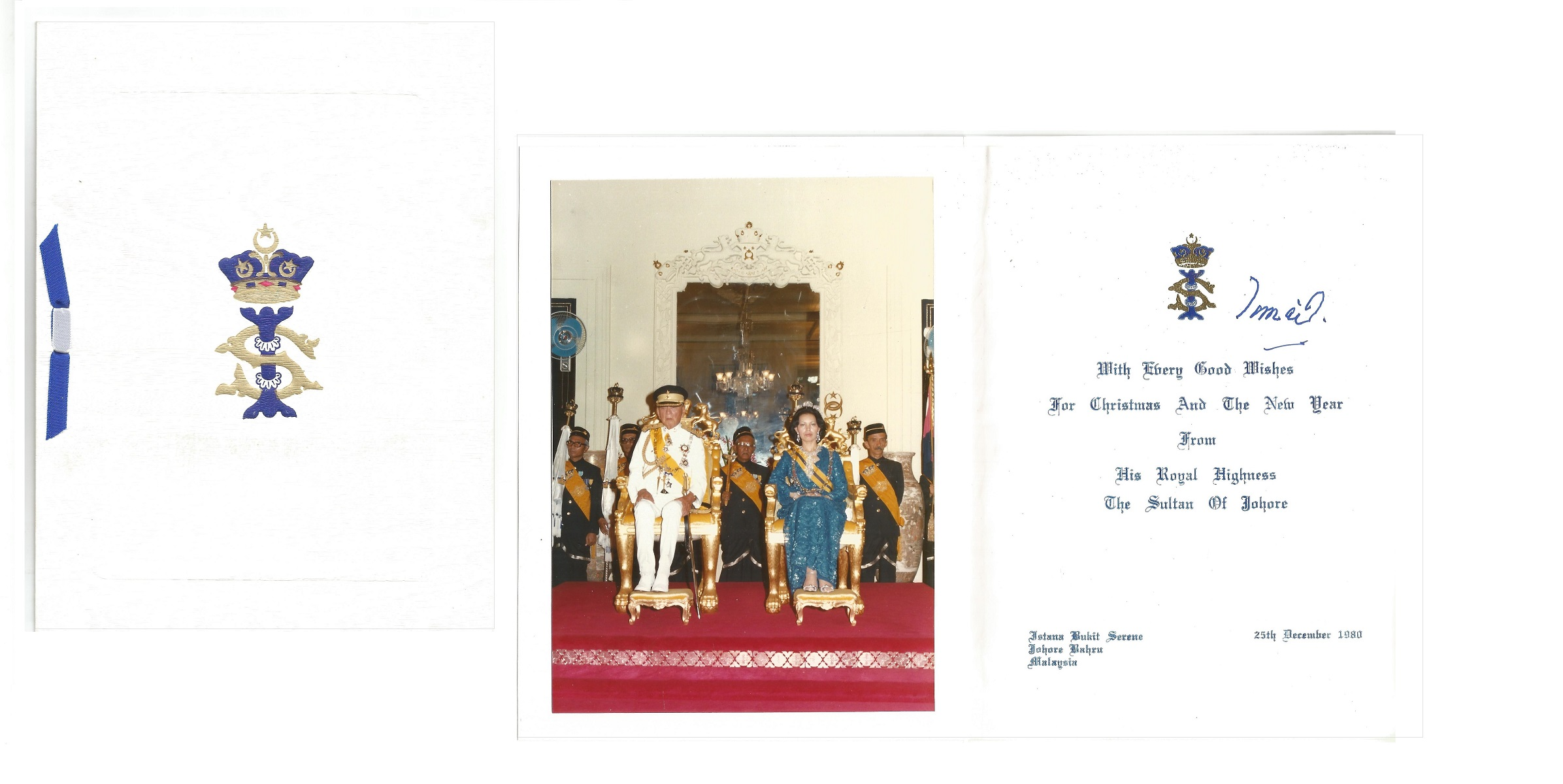 Sultan of Johore 1980 signed Christmas card. Good condition. All autographs come with a