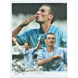 Football Elano signed 16x12 colour montage photo pictured while playing for Manchester City. Good