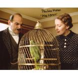 Poirot 8x10 photo signed by actress Pauline Moran as Miss Lemon. Good condition. All autographs come