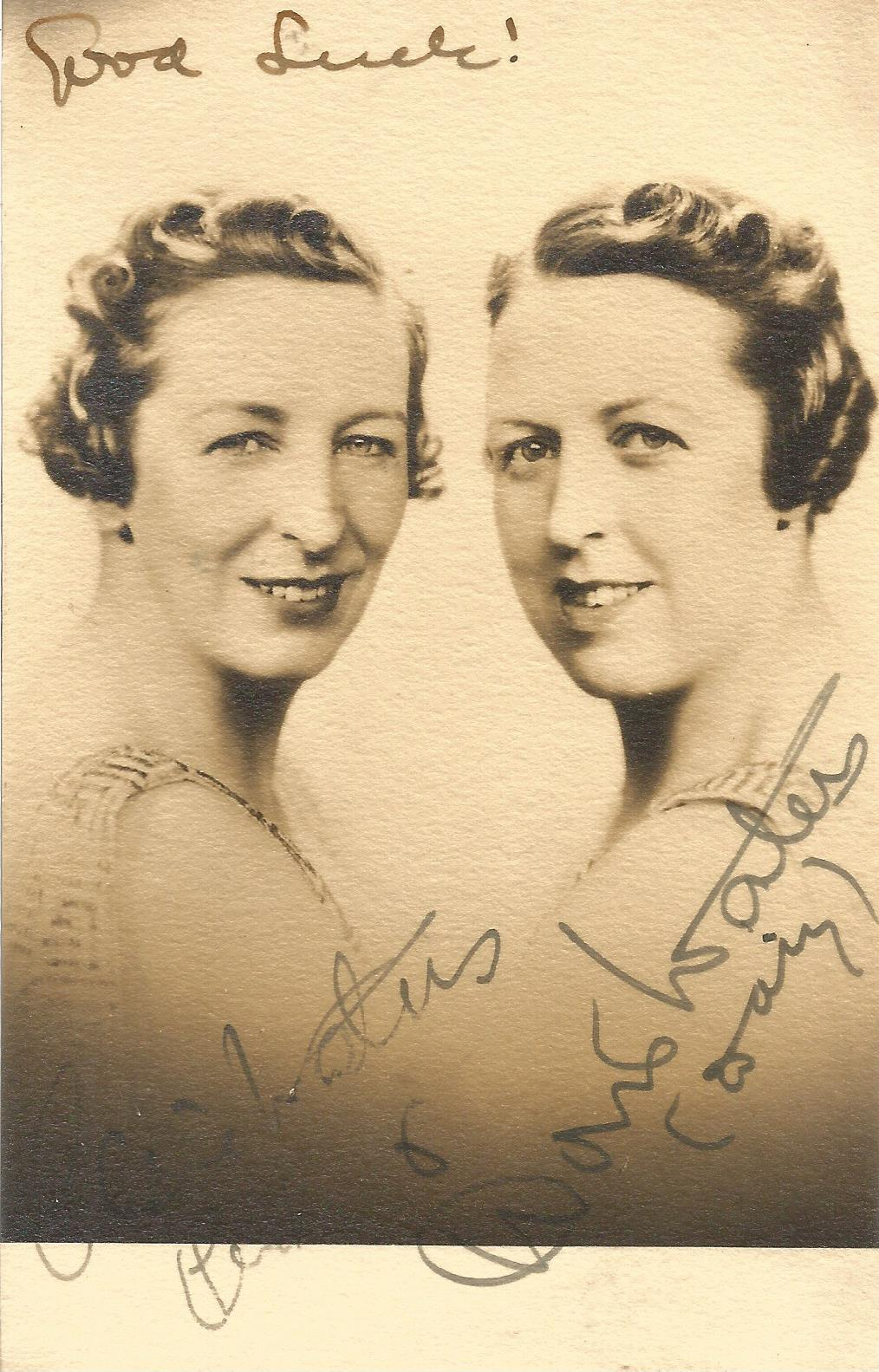 Elsie And Doris Waters Music Hall Entertainers Signed Vintage Photo. Good condition. All
