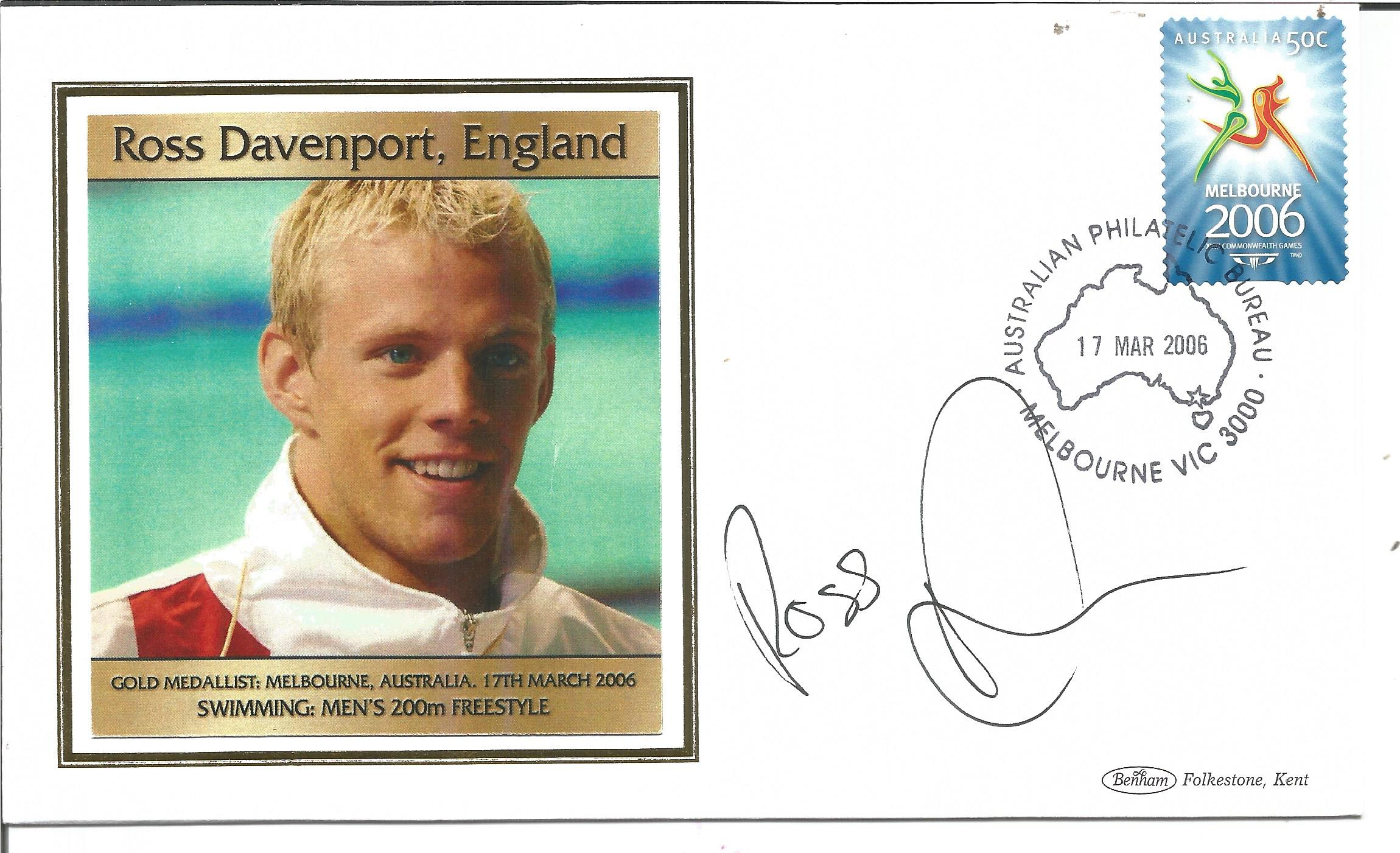 Olympic medal winner Ross Davenport signed Benham Melbourne Olympics silk FDC to commemorate the