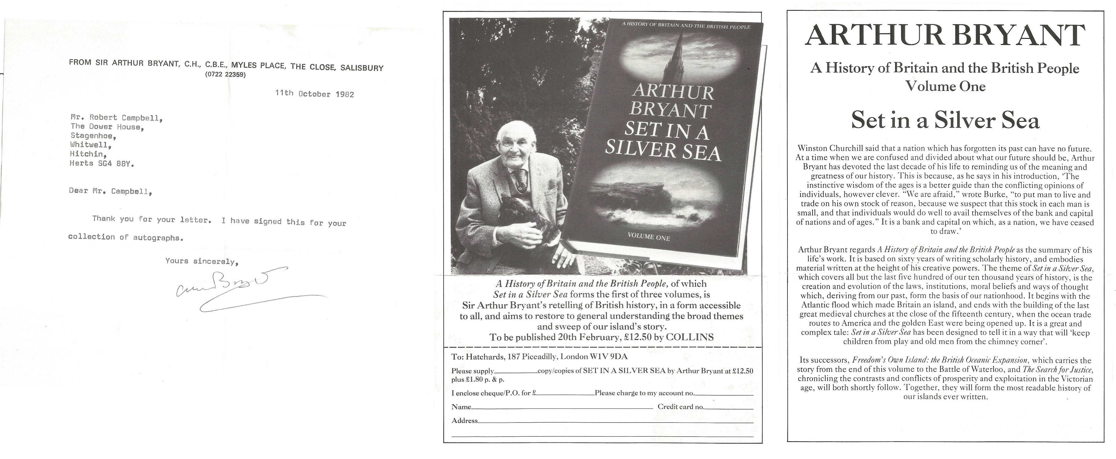 Sir Arthur Bryant TLS dated 11th October 1982, includes a black & white advertisement for his book