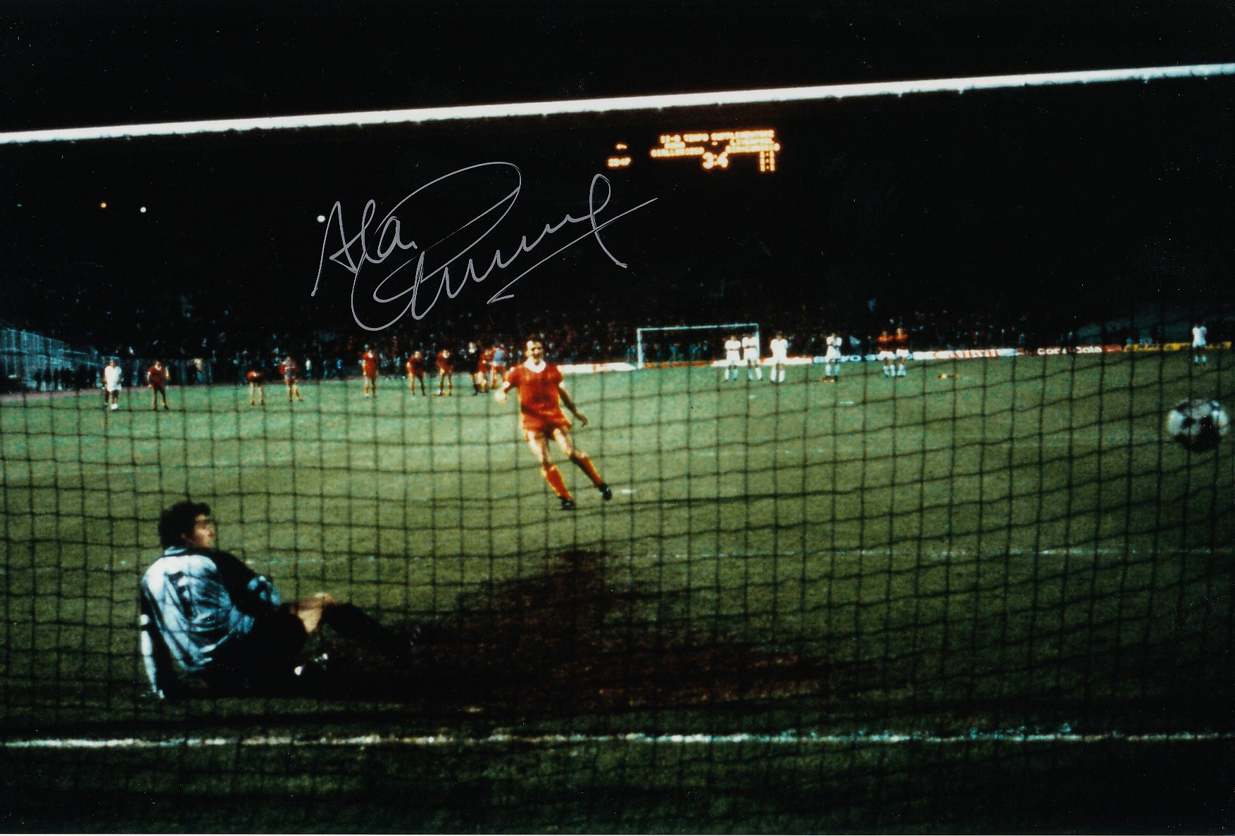 Autographed Alan Kennedy 12 X 8 Photo Col, Depicting A Superb Image Showing Kennedy Scoring The