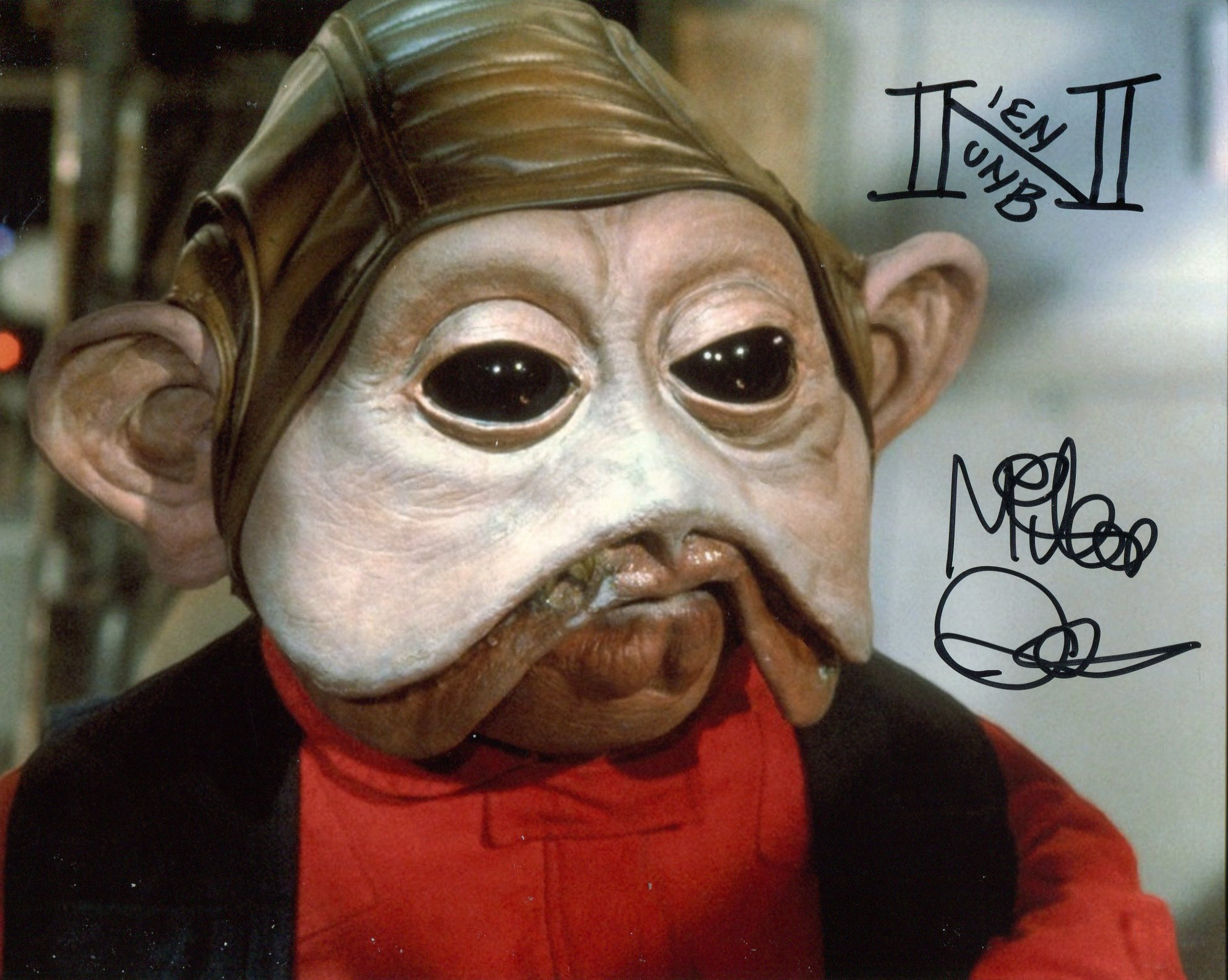 Star Wars 8x10 photo signed by actor Mike Quinn as Nein Numb in return of the Jedi. Good
