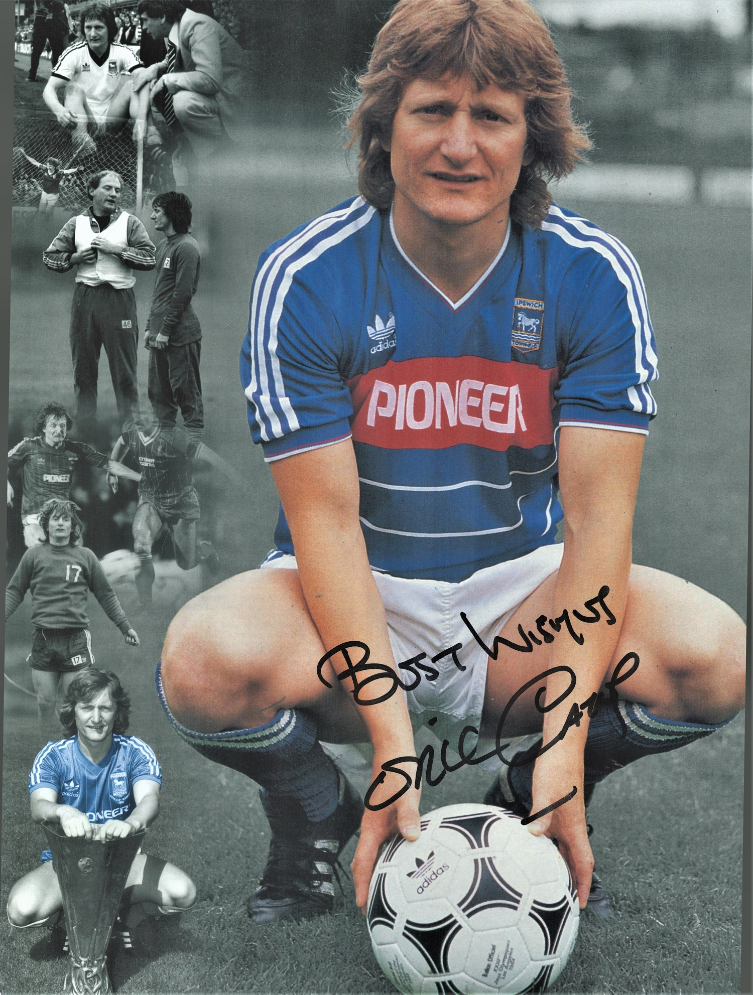 Football Eric Gates signed 16x12 colour photo pictured while at Ipswich Town. Good condition. All