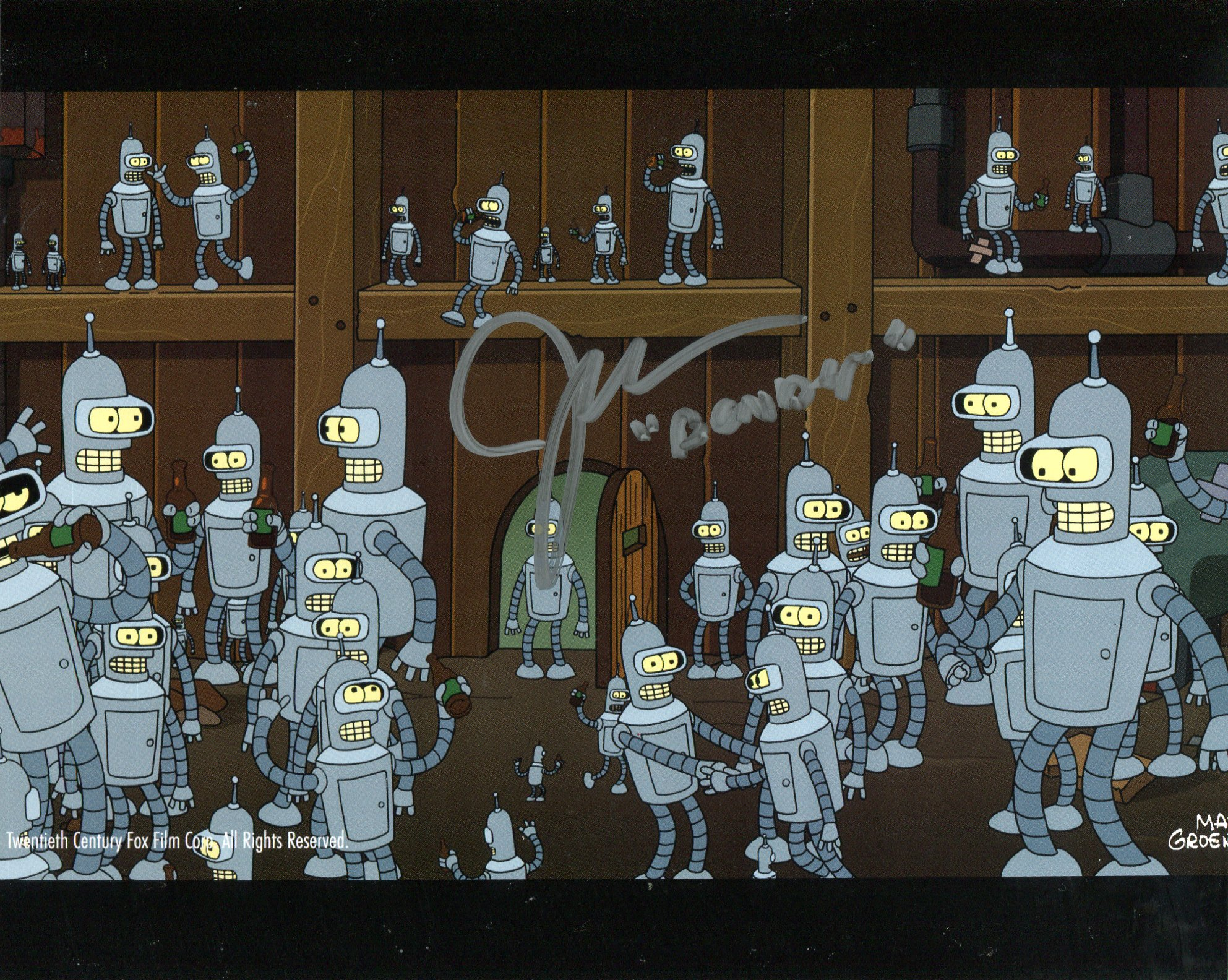 Futurama 8x10 animated comedy photo signed by actor John DiMaggio. Good condition. All autographs