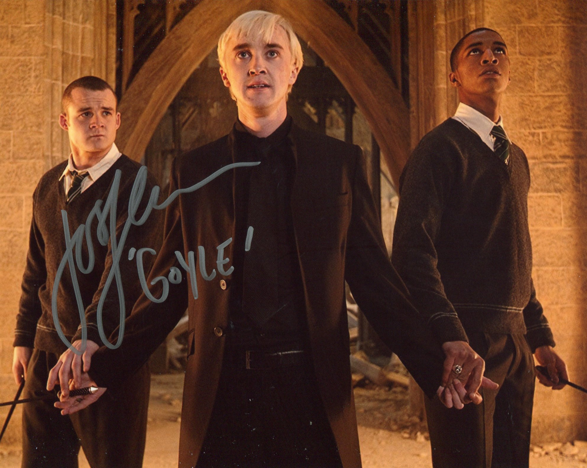 Harry Potter 8x10 movie photo signed by actor Josh Herdman as Goyle. Good condition. All