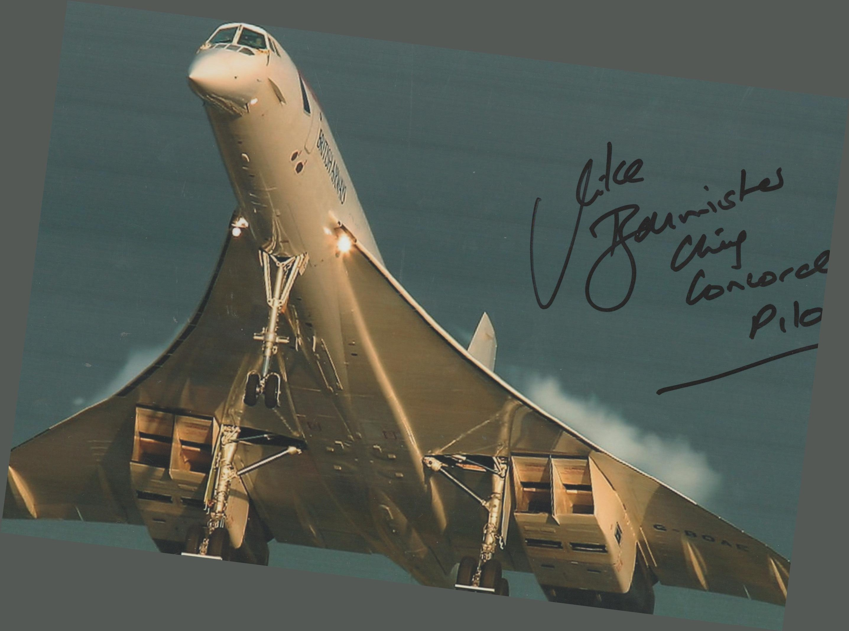 Concorde Capt Mike Bannister signed stunning sunset take off 12 x 8 inch colour photo. Good
