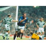 Ally McCoist signed 16x12 colour photo pictured celebrating after scoring for Rangers in the Old