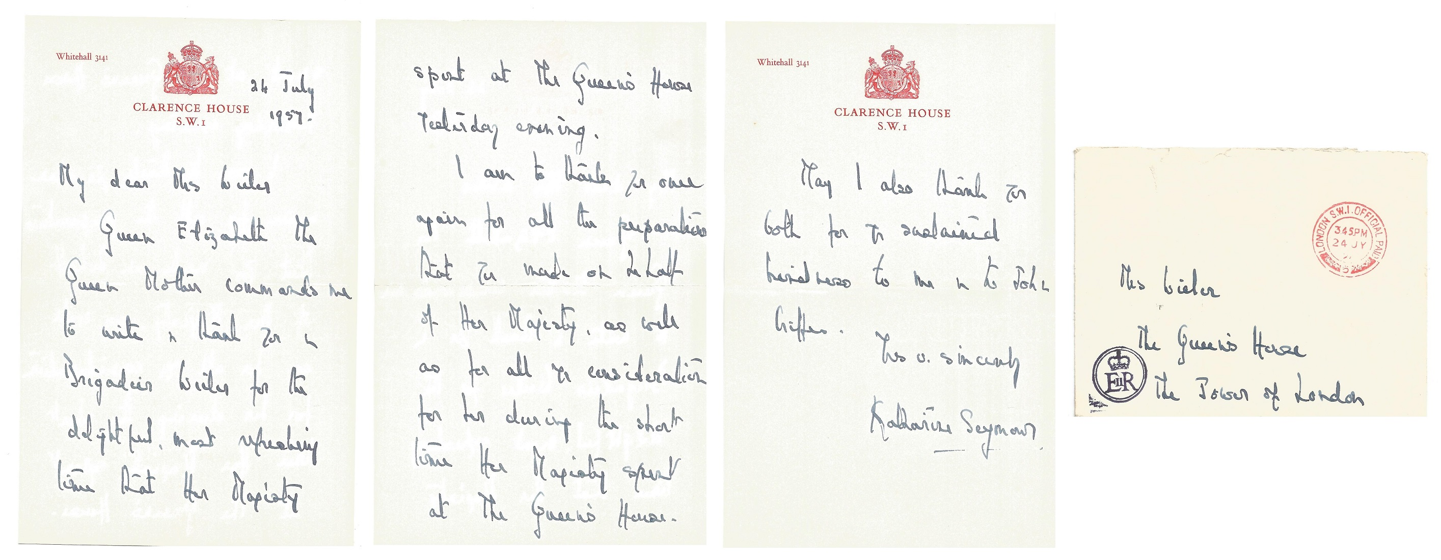 Katherine Seymour ALS on Clarence House headed paper dated 24th July 1957. Letter thanks recipient