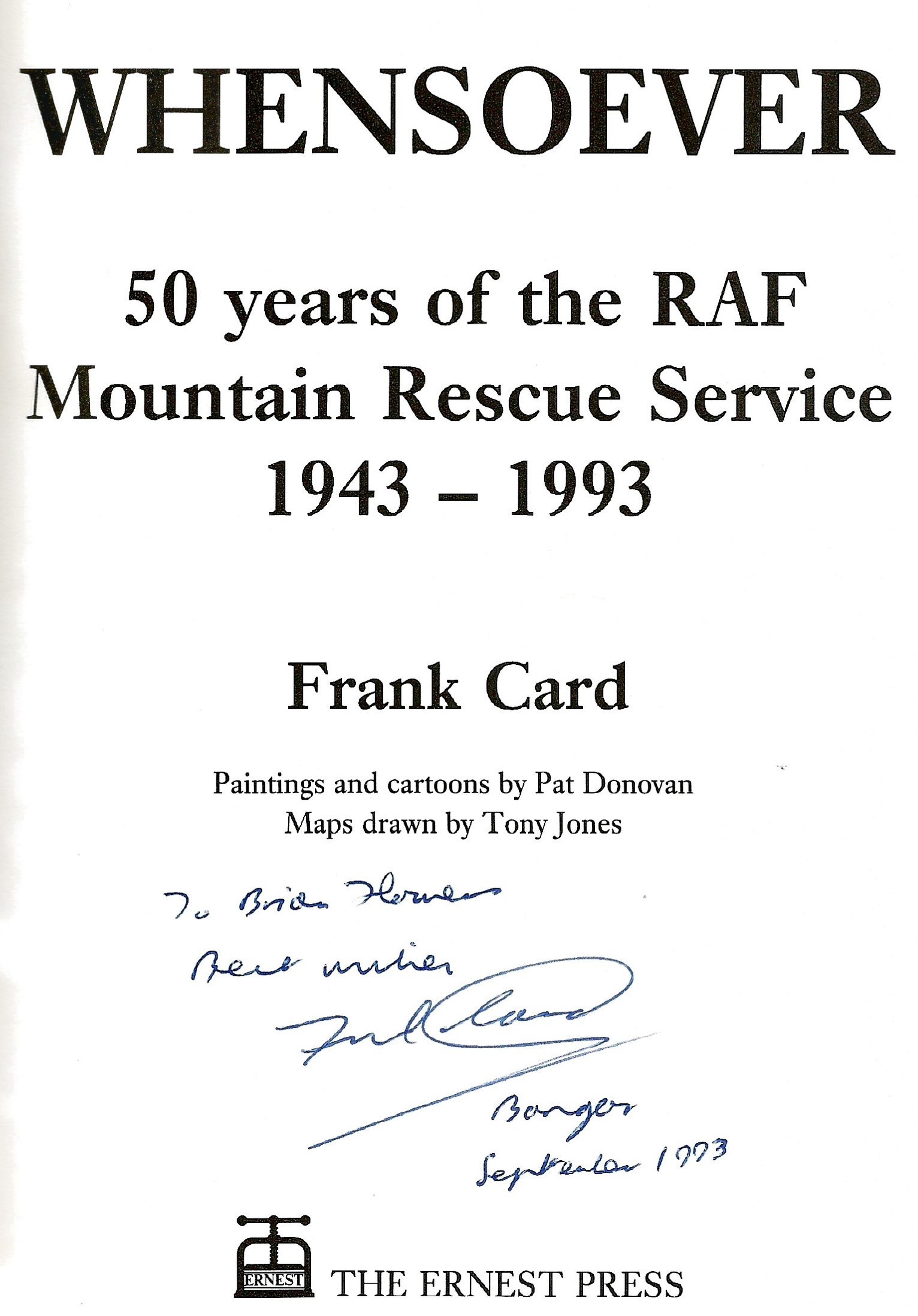 Frank Card. Whensoever. A WW2 first edition hardback book in good condition. Dedicated and signed by - Image 2 of 2