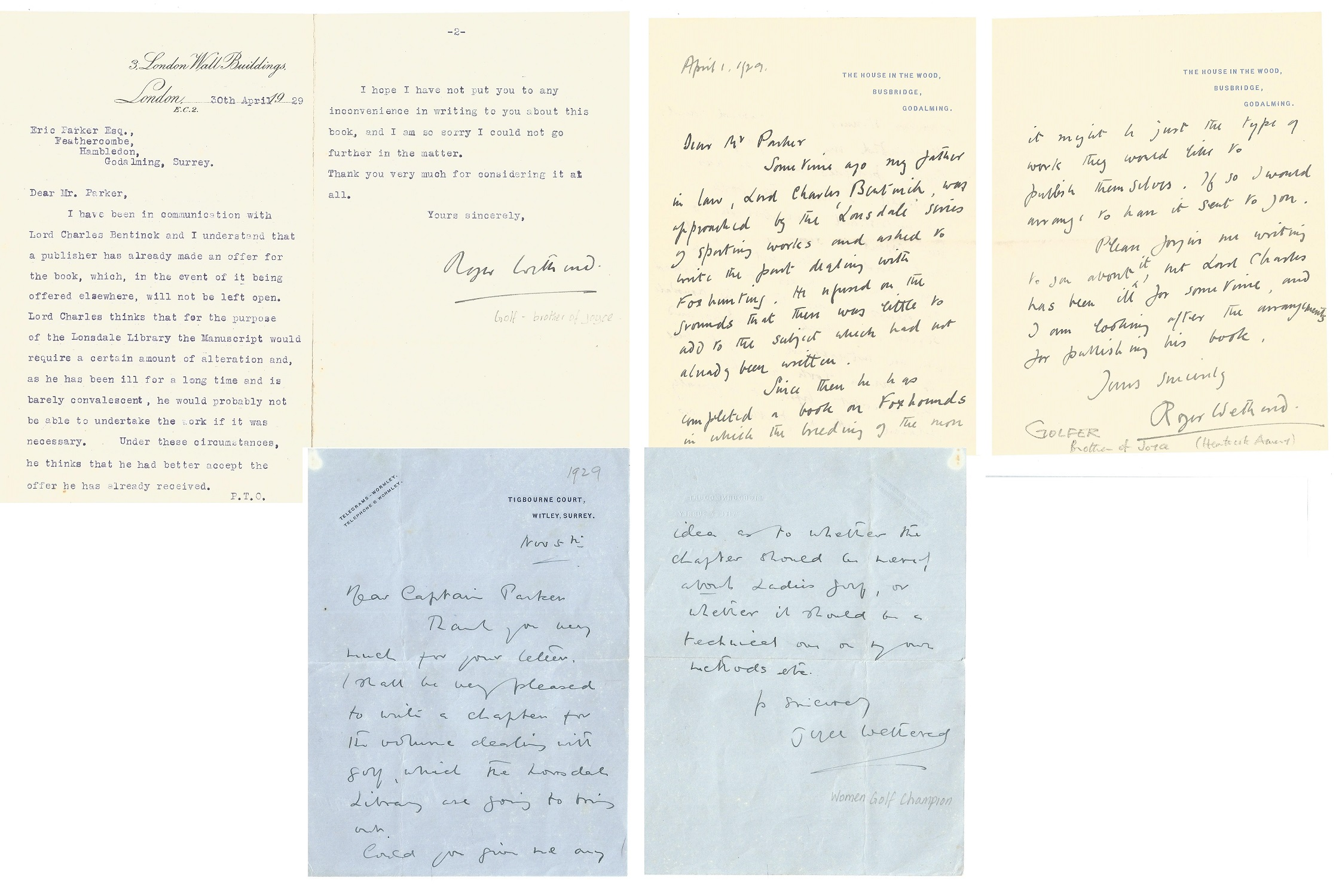 Roger & Joyce Wethered, 2 x ALS and 1 x TLS. One letter dated 1st April 1929, the other 30th April
