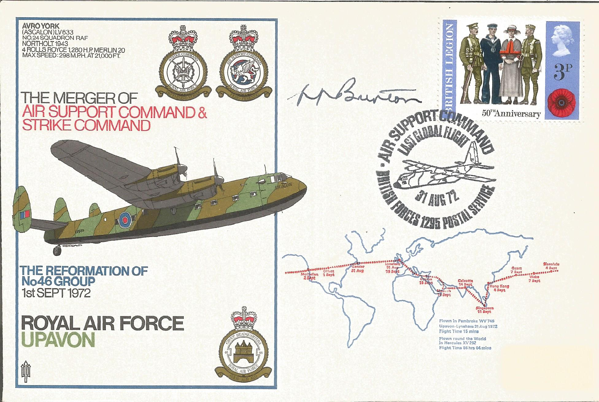 Air Marshall Sir Harry Burton KCB CBE DSO signed RAF Upavon The Merger of Air Support Command and