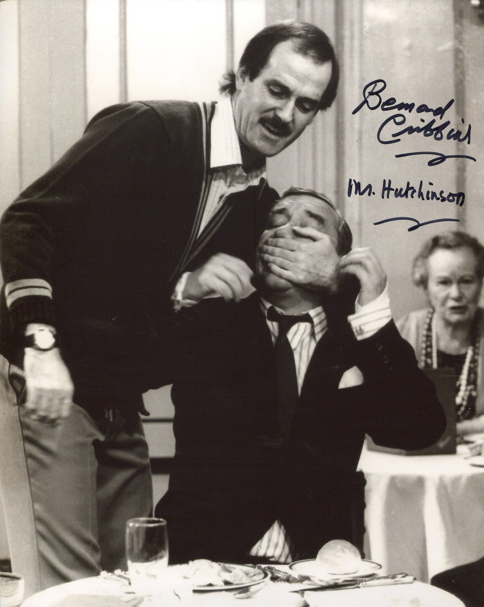 Fawlty Towers 8x10 comedy scene photo signed by actor Bernard Cribbins. Good condition. All