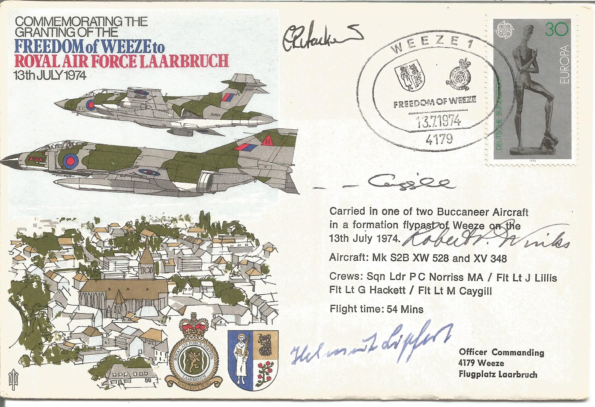 Robert P. Winks, Flt lt M. Caygill plus two other signed Commemorating the Granting of the Freedom