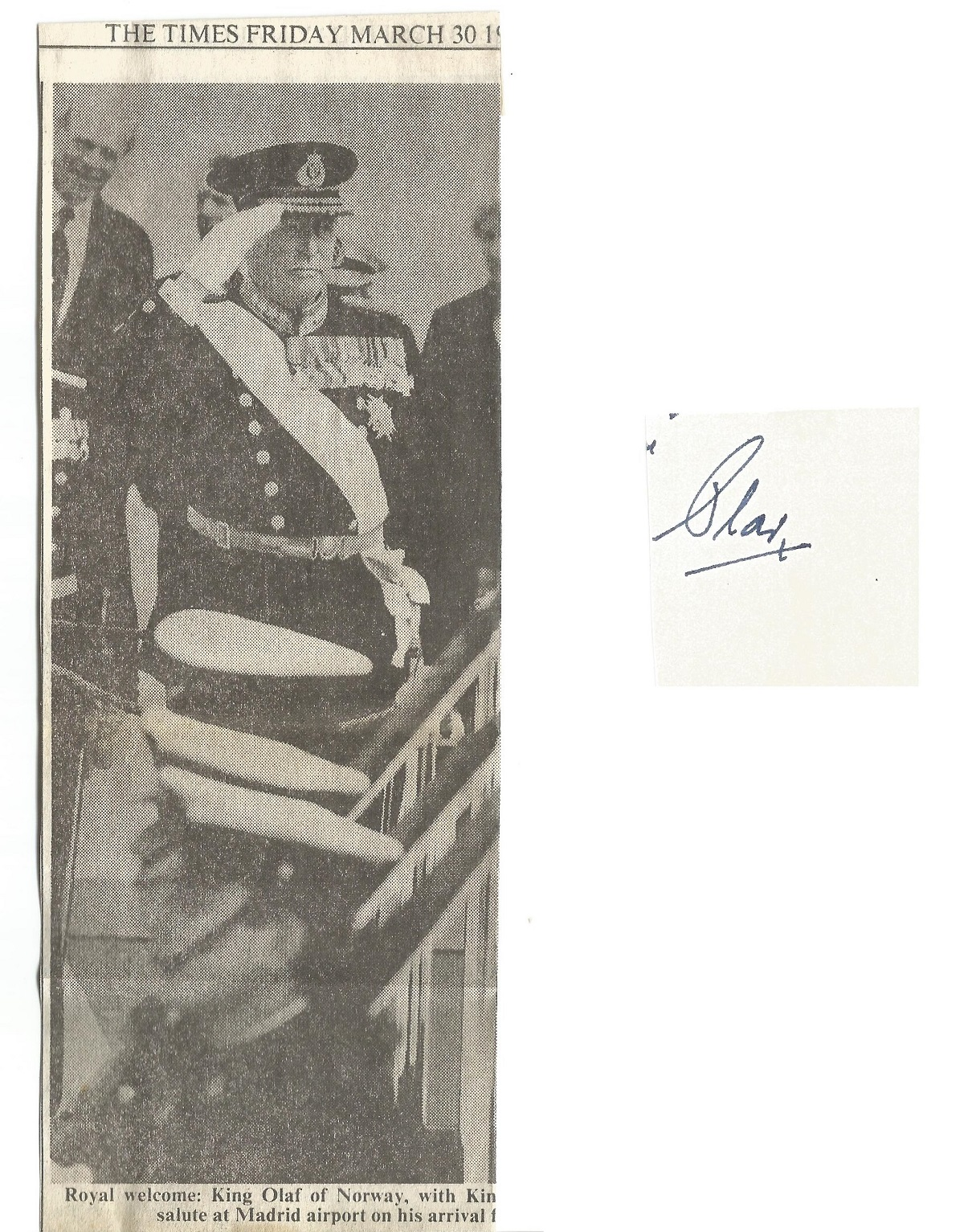 King Olav or Norway signature on approx. 2 x 2 card. Includes newspaper clipping from The Times