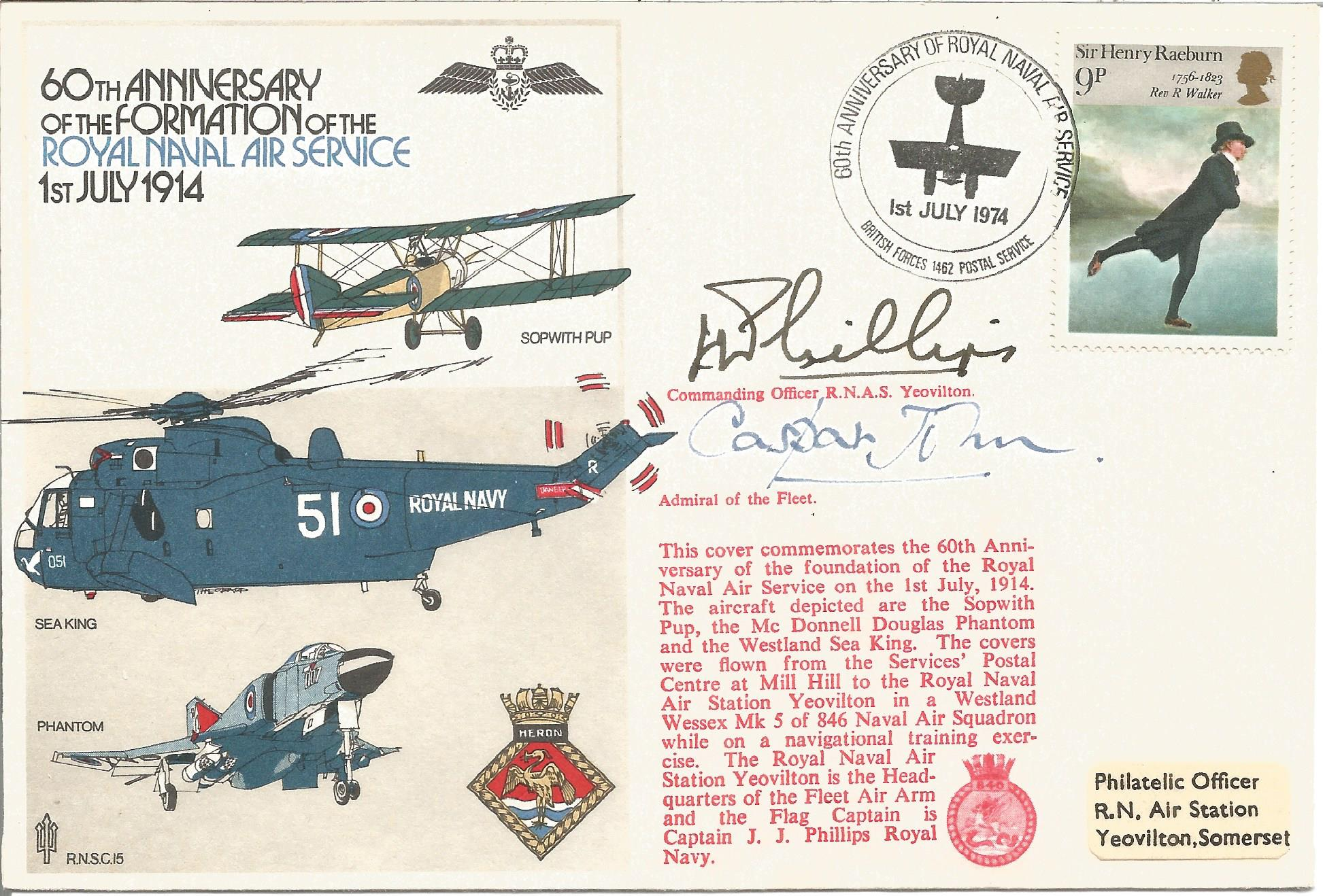 Cpt J. J. Phillips and Casper John signed 60th Anniversary of the Formation of the Royal Naval Air