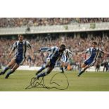 Autographed Andy Cole 12 X 8 Photo Col, Depicting The Manchester United Striker Celebrating After