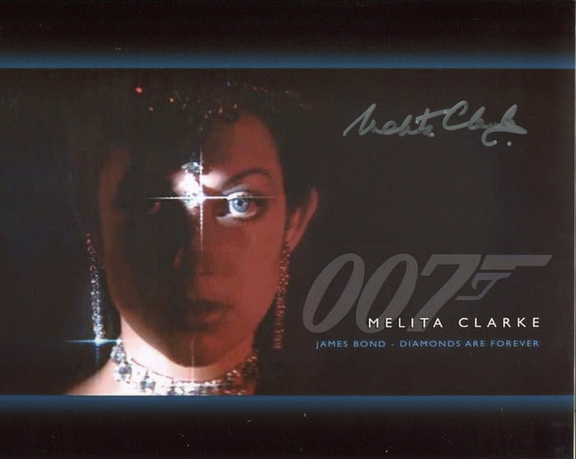 007 Bond girl Melita Clarke signed 8x10 photo from Diamonds are Forever. Good condition. All