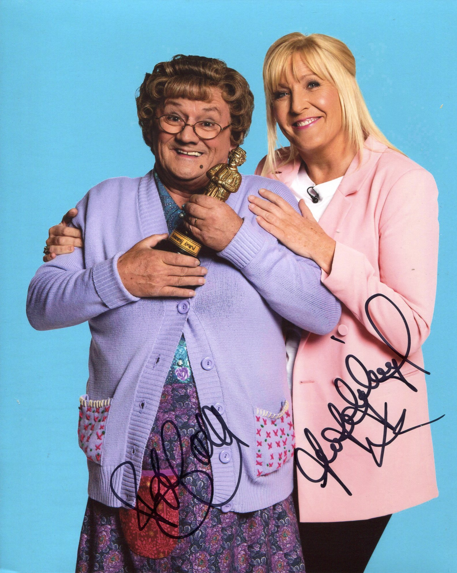 Mrs Browns Boys 8x10 photo signed by both Brendan O'Carroll and Jennifer Gibney. Good condition. All