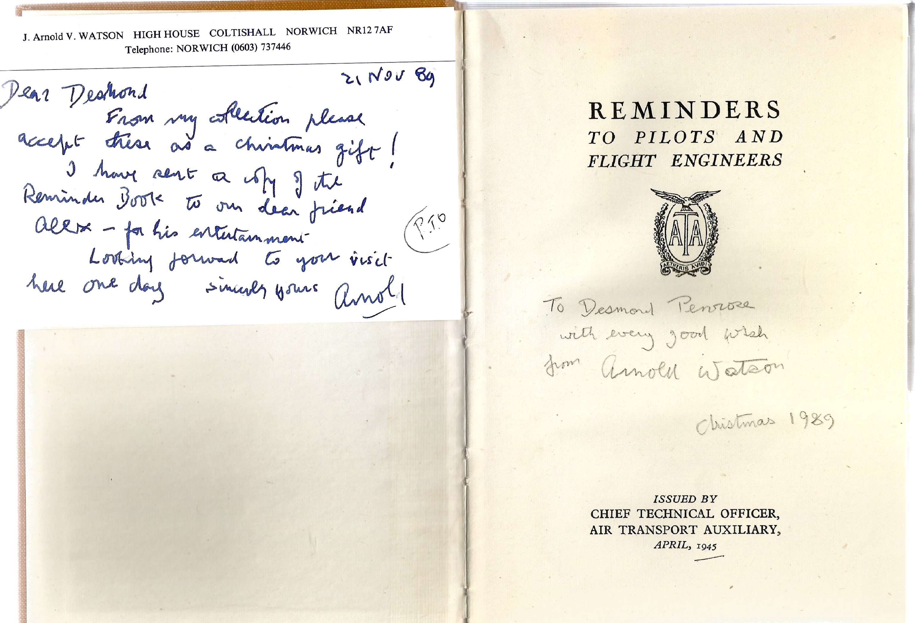 J. Arnold V. Watson. Pilots Reminders Book 2nd Edition. Hardback book, signed by the author. - Image 2 of 2