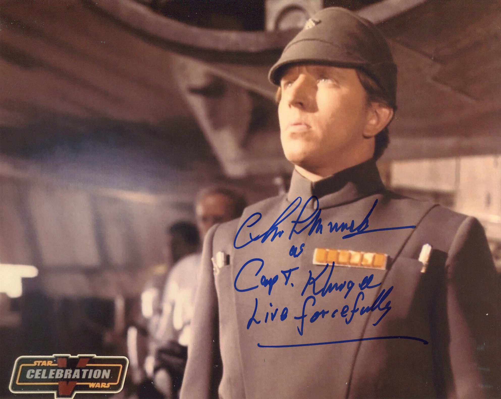 Star Wars 8x10 photo signed by actor Christopher Muncke who played Captain Khurgee. Good