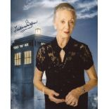 Doctor Who 8x10 Tardis montage photo signed by actress Thelma Barlow. Good condition. All autographs