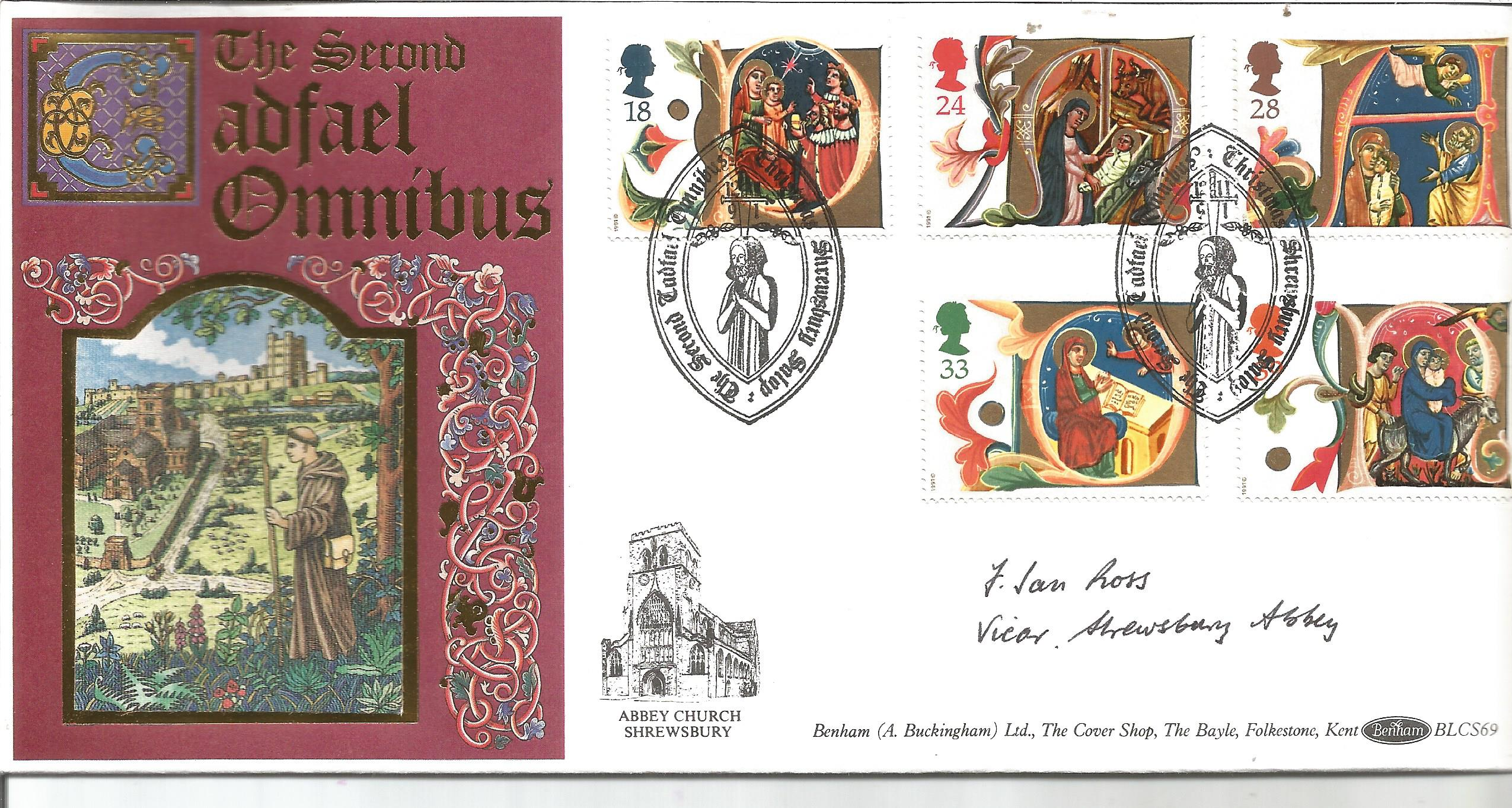 J Ian Ross Vicar Shrewsbury Abbey signed Benham official 1991 Christmas LCS69 FDC to commemorate the