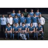 Autographed Manchester City 12 X 8 Photo Col, Depicting The 1976 League Cup Winners Posing With