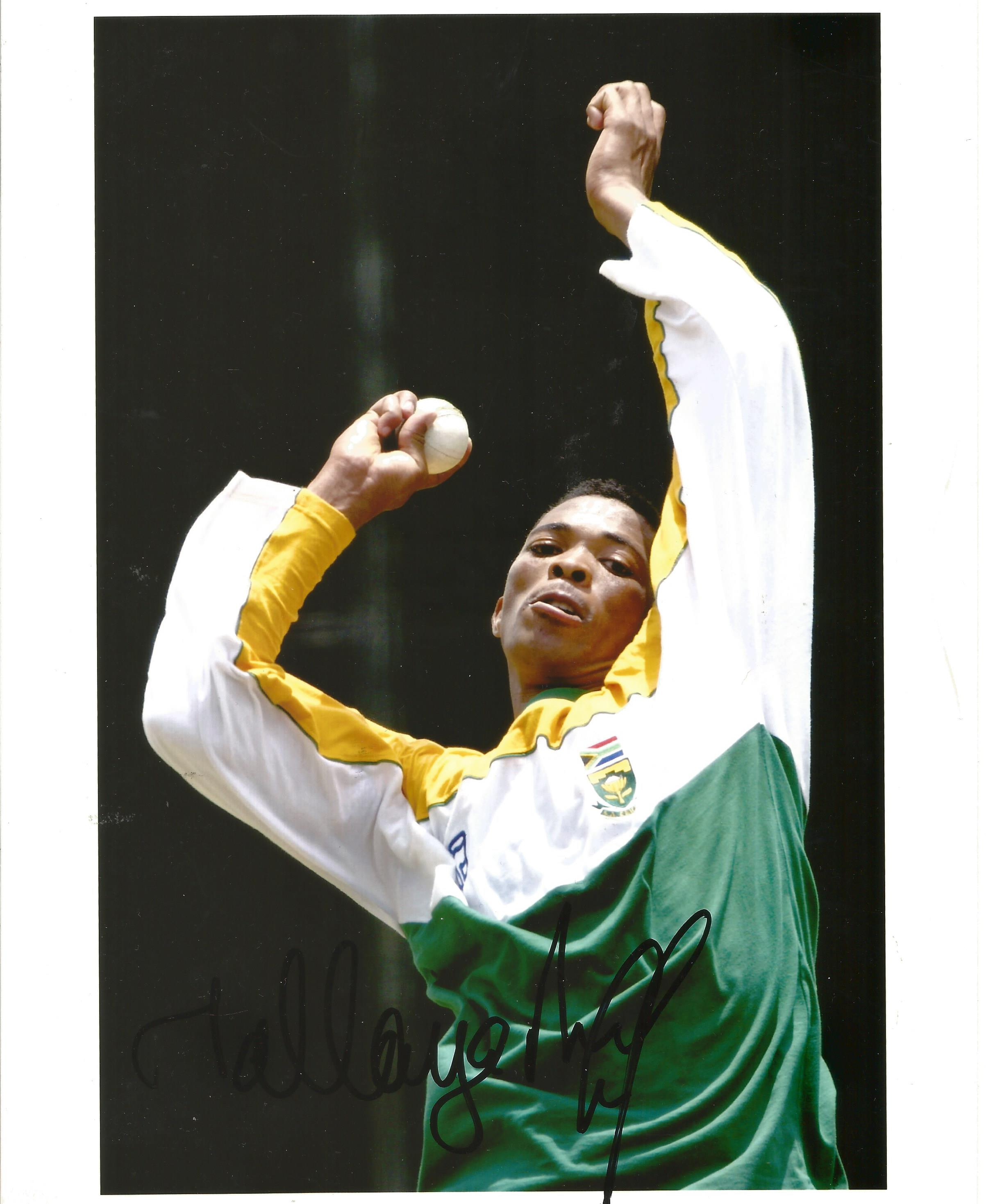 Cricket. Makhaya Ntini signed 10x8 colour photo. Photo shows the Fast Bowler in action for South