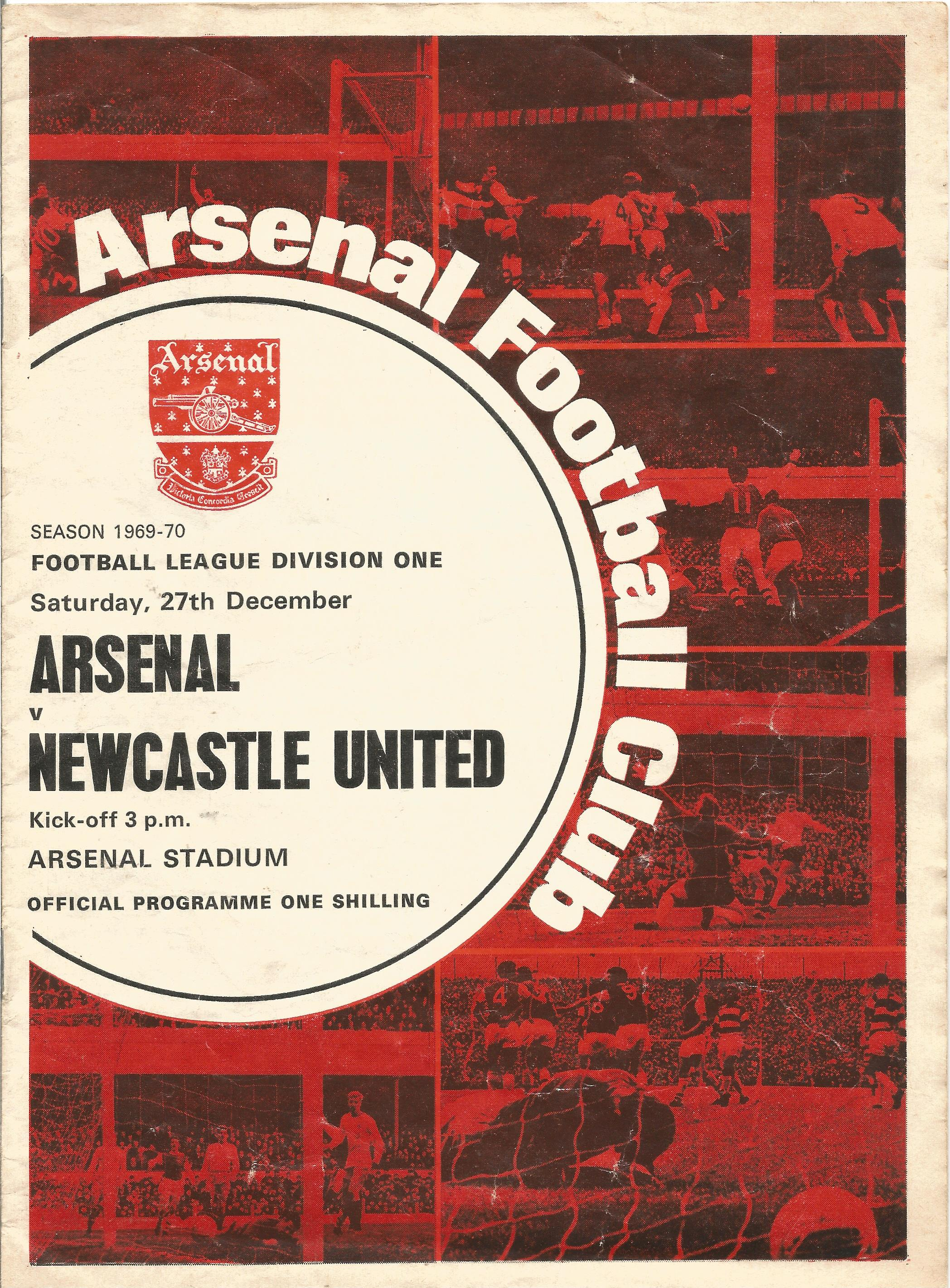 Arsenal. A Collection of 4 matchday programmes. From 1950, 1969, 1969 and 1983. some showing signs
