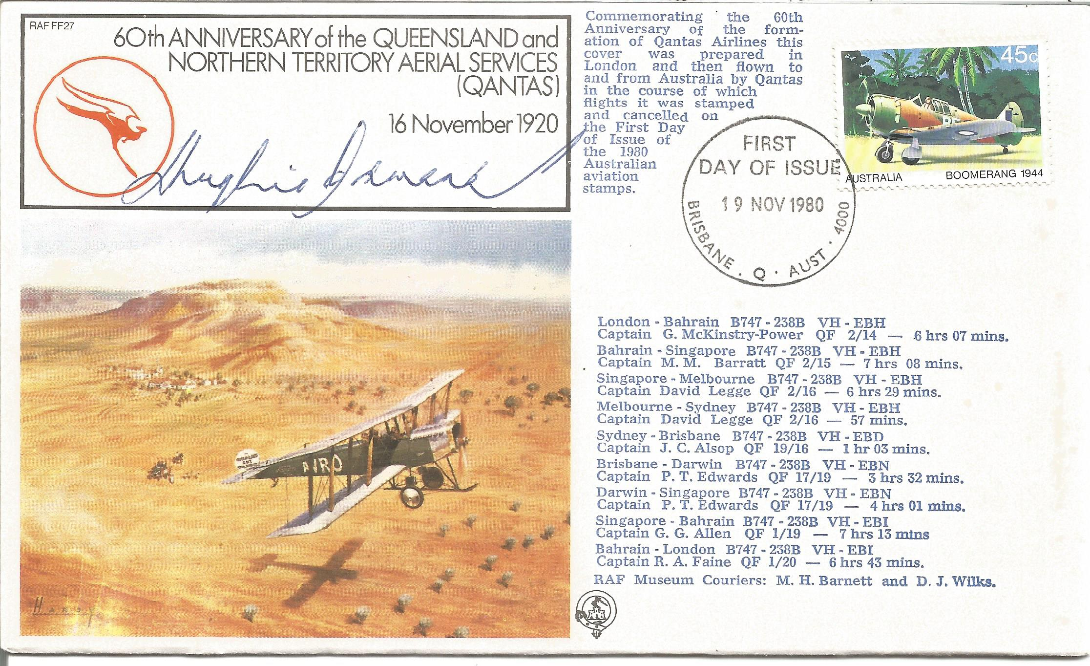 Air Cmdr. Sir Hughie Idwal Edwards VC KCMG CB OBE DFC signed 60th Anniversary of the Queensland