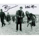 Quadrophenia Phil Daniels and Lesley Ash signed 10 x 8 inch b w photo, on the Beach. Good