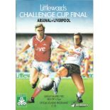 Football. Arsenal Vs Liverpool Challenge Cup Final 5th April 1987 Offical matchday programme.