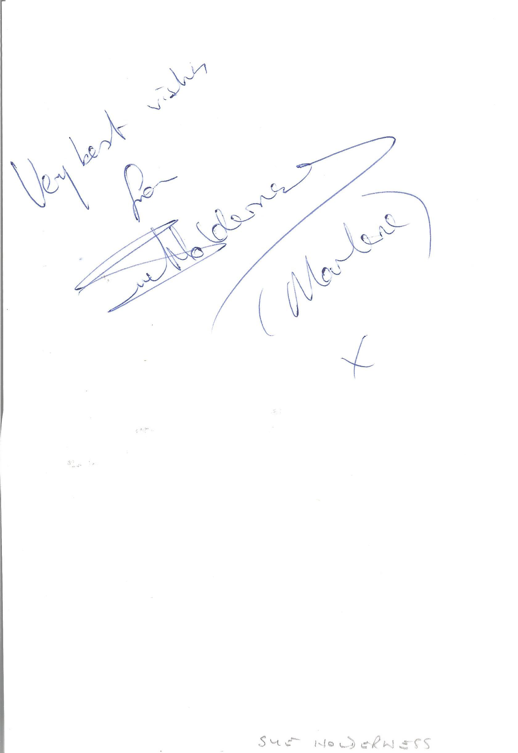 Sue Holderness Only Fools & Horses Marlene Actress Signed 5x8 Page. Good condition. All autographs