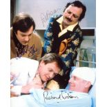 Only When I Laugh 1980's TV comedy series photo signed by Peter Bowles, Christopher Strauli and